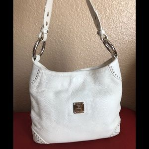 Vintage MCM White Leather Hobo